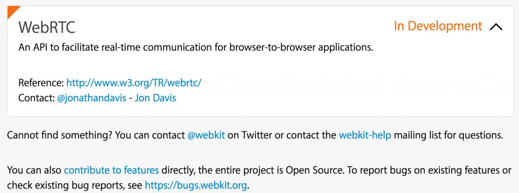 apple webkit webrtc status